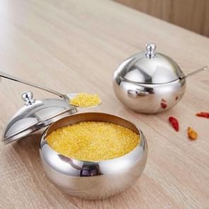Roestvrijstalen ronde kruidenpot met lepel  specificatie: Groot