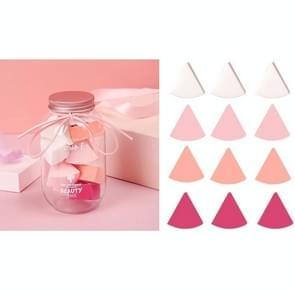 3 Sets 12 in 1 blikjes wegwerppoeder bladerdeeg driehoek make-up powder puff set ventilator-vormige poeder puff (vier kleuren)