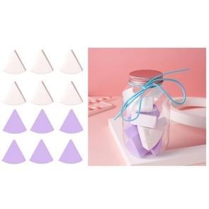 3 Sets 12 in 1 blikjes wegwerp poeder bladerdeeg driehoek make-up powder puff set fan-vormige poeder bladerdeeg (paars wit)