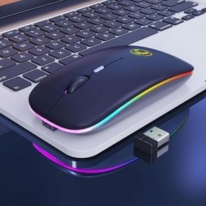 iMICE E-1300 4-toetsen 1600DPI Lichtgevende draadloze stille desktopnotitieblokminimuis  stijl:opladen Luminous Edition(Zwart)