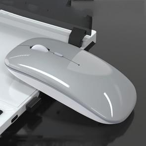iMICE E-1300 4-toetsen 1600DPI Lichtgevende draadloze stille desktopnotitieblokminimuis  stijl:oplaadeditie(zilver)