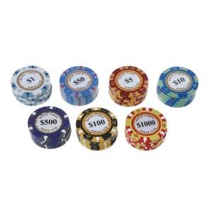 100 PCS Texas Hold'em Clay chips professionele casino munt (par waarde en kleur willekeurige levering)