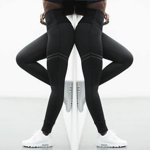 2 PC's hoge elastische Fitness Sport Leggings panty's Slim Running Sportkleding Sports broek vrouwen Yoga broek snel drogen opleiding broek  Size:M(Black)