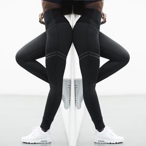 2 PC's hoge elastische Fitness Sport Leggings panty's Slim Running Sportkleding Sports broek vrouwen Yoga broek snel drogen opleiding broek  Size:L(Black)