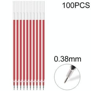 100 stuks neutrale inkt gel pen pen Refill 0.38 mm bullet Refill (naald Tip van rood)