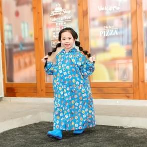 Children Regenjas met schooltas stoel en Poncho regenkleding  maat: L (Blauw)
