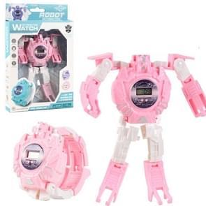 3 STUKS Kinderen Elektronisch Horloge Cartoon Vervorming Robot Speelgoed Horloge (Roze)