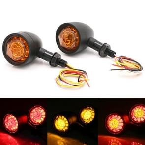 Motorfiets universele retro LED richtingaanwijzer licht (zwarte shell gele deksel)