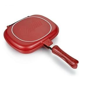 Huishoudelijke pan dubbele kant Grill Fry pan kookgerei dubbele gezicht pan (28cm)