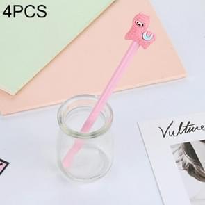 4 stuks gel pennen cartoon Creative Alpaca vorm student handtekening pen (roze)