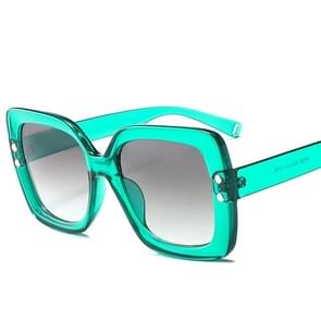 2 PCS Oversized Sunglasses Women Luxury Transparent Gradient Sun Glasses Big Frame Vintage Eyewear UV400 Glasses(Green )