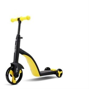 nadle Foldabledriewielige drie-modus Balance fiets kind scooter (geel)