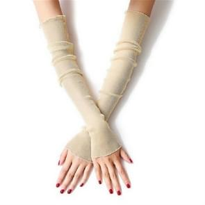 Ice-feel Purl Lace Thin Gloves Foot Sleeves Dual-use Sleeves  Size:One Size(Beige)