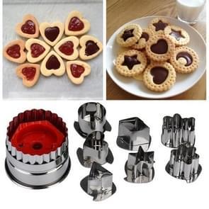 8 stuks cookie cutter tools 3D scenario RVS cookie cutter instellen peperkoek taart mal fondant cutter (zilver)
