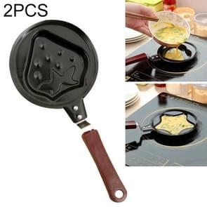 2 stuks B650417 cute cartoon vormige ei Mould pannen Nonstick RVS Mini ontbijt ei koekoeken pannen (aardbei)