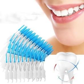 2 stks dubbele kop zachte siliconen spiraal floss draagbare tandheelkundige zorg schoonmaken tool