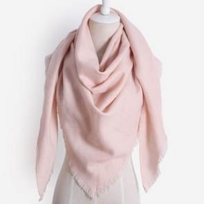 Lente Winter brei warme effen kleur imitatie kasjmier driehoek sjaal sjaal (roze)