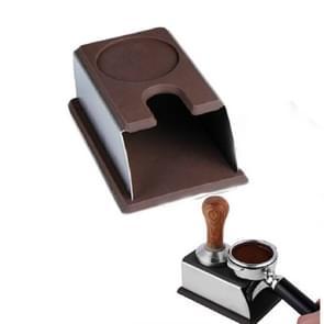 RVS siliconen espresso koffie Tamper stand Barista tool poeder pad Hammer pad (bruin)