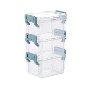 Desktop Transparent Covered Storage Box Sundries Organizing Storage Box  Layer:Three Layers(Blue)