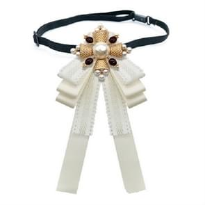 Ladies Court Style Cloth Brooch Lace Bow-knot Bow Tie Costume Accessories  Style:Tie Belts Version(White)