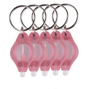 2 stuks Mini Pocket sleutelhanger zaklamp Micro LED squeeze licht buiten Camping ultra heldere noodsleutel ring licht fakkel lamp (roze)