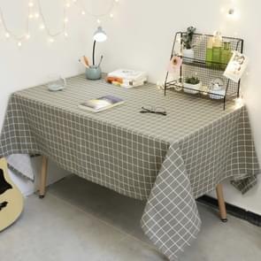 Vierkant geruit tafelkleed meubeltafel stof-proof decoratie doek  grootte: 140x140cm (Grijs )