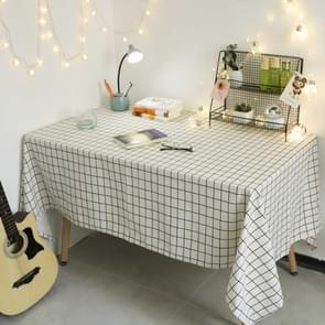 Square Checkered Tablecloth Furniture Table Dust-proof Decoration Cloth  Size:140x240cm(White )