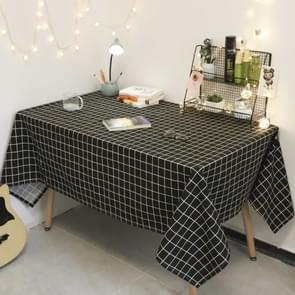 Square Checkered Tablecloth Furniture Table Dust-proof Decoration Cloth  Size:140x240cm(Black )