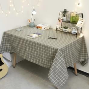 Square Checkered Tablecloth Furniture Table Dust-proof Decoration Cloth  Size:140x240cm(Grey )