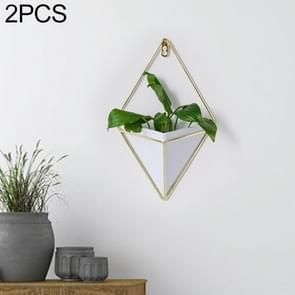2 PC'S innovatieve opknoping planter vaas succulente planten geometrische Wall Decor container  maat: M (wit)