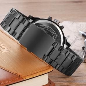CAGARNY 6820 modieuze Business Style grote Dial Dual tijdzone Quartz beweging polshorloge met RVS Band & kalender functie voor mannen (zwarte Band Orange naald)