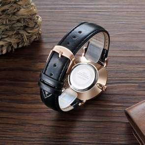 CAGARNY 6812 Round Dial Alloy Case Fashion Couple Watch Men & Women Lover Quartz Watches with PU Leather Band(Black)