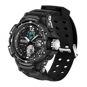 SANDA 5319 LED Backlight Display & Stopwatch & Alarm & Date and Week Function Men Quartz + Digital Dual Movement Watch with Silicon Band(Black)