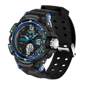 SANDA 5319 LED Backlight Display & Stopwatch & Alarm & Date and Week Function Men Quartz + Digital Dual Movement Watch with Silicon Band(Blue)