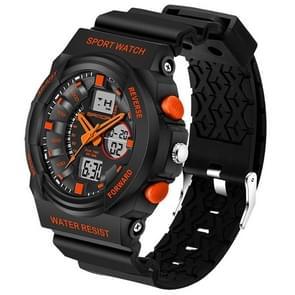 SANDA 5297 LED nacht licht Display & Stopwatch & Alarm & datum en Week functie mannen kwarts + digitale dubbele beweging horloge met kunststof Band(Orange)