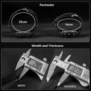 SANDA 5297 LED nacht licht Display & Stopwatch & Alarm & datum en Week functie mannen kwarts + digitale dubbele beweging horloge met kunststof Band(Blue)