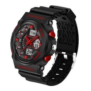 SANDA 5297 LED nacht licht Display & Stopwatch & Alarm & datum en Week functie mannen kwarts + digitale dubbele beweging horloge met kunststof Band(Red)