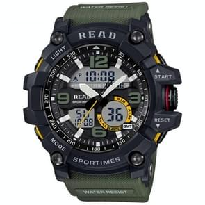 Lees R90001 lichtgevende & Alarm & datum & Week Display functie Quartz Movement mannen Sport horloge met Rubber Band(Green)