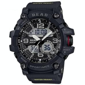 Lees R90001 lichtgevende & Alarm & datum & Week Display functie Quartz Movement mannen Sport horloge met Rubber Band(Grey)