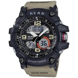 Lees R90001 lichtgevende & Alarm & datum & Week Display functie Quartz Movement mannen Sport horloge met Rubber Band(Khaki)