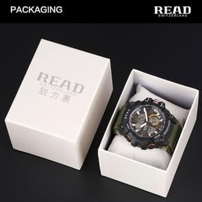 Lees R90001 lichtgevende & Alarm & datum & Week Display functie Quartz Movement mannen Sport horloge met Rubber Band(Blue)