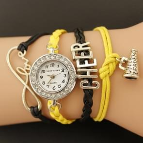 JIANGYUYAN PU geweven riem Cheers GL68 Quartz Movement armband horloge met kreeft Clasp(Yellow)