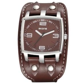 SKONE 3840 Fashion 3ATM Waterproof Quartz Movement Sport Watch with Large Diameter PU Band for Men(Dark Coffee)