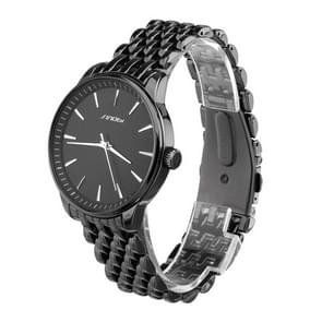 SINOBI Round Dial Nailed Scale Rhombic lattice Veins Matte Dial Fashion Unisex Quartz Watch with Alloy Band(Black)