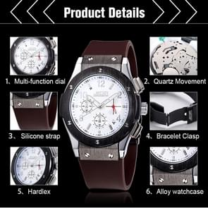 JEDIR 527906 3ATM Waterproof Arabic Numerals Scale Quartz Movement Three Functional Sub Dials(24 Hours  Stopwatch  Minute) Waist Watch with Silicone Band & Luminous Pointer & Calendar Display Function for Men(White)