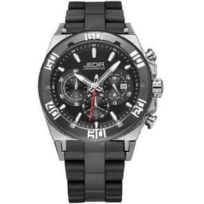 JEDIR 527202 3ATM waterdichte nagel schaal Quartz beweging drie functionele Sub belt (24 uur  seconde  minuut) taille horloge met siliconen Band & kalender Display functie voor mannen (zwarte Band Black Case)