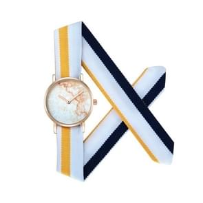 CAGARNY 6813 Marble Pattern ronde Dial legering Gold Case mode vrouwen Watch Quartz horloges met doek Band