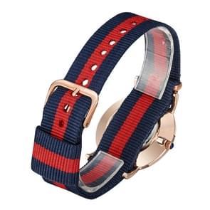 CAGARNY 6813 modieuze Ultra dunne Rose Gold Case Quartz Wrist Watch met 3 strepen Nylon Band voor Women(Red)