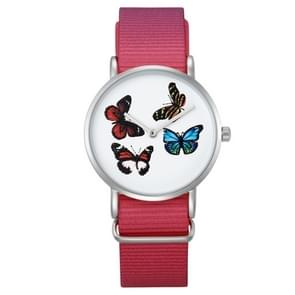 CAGARNY wonen waterdichte Butterfly patroon ronde Dial Quartz beweging Alloy Silver Case mode vrouwen Watch Quartz horloges met Nylon Band