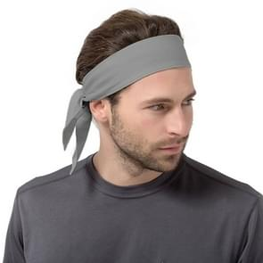 Unisex Sweat Wicking Stretchy Exercise Yoga Gym Bandana Headband Sweatband Head Tie Scarf Wrap  Size: 1.2*0.06m (Grey)